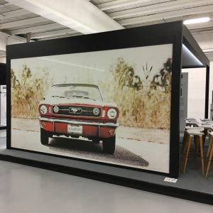 Car image advert printed on a screen